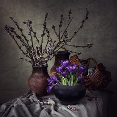 Still life with bouquet of spring flowers