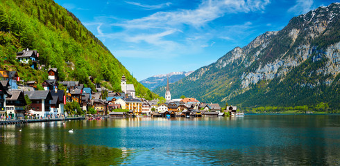 Fotomurales - Panorama of Hallstatt village and Hallstatter See, Austria