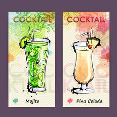 Artistic decorative cocktail menu. Disco background