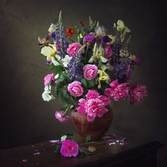 Still life with bouquet  of  flowers