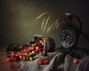 Still life with ripe cherry