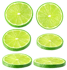 Isolated lime collection. Different angle of lime fruit slices isolated of white, with clipping path