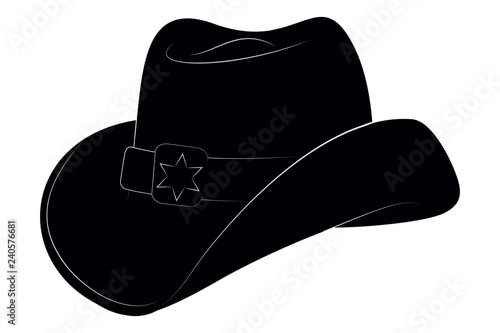 18e9c4629 Sheriff Hat Icon. Vector Isolated Object. Side View. Symbol of Wild ...