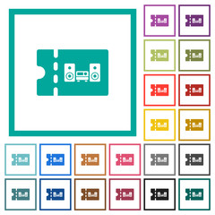 Technical store discount coupon flat color icons with quadrant frames
