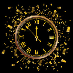 Clock Golden Confetti