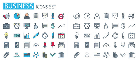 thin line business set icons. Management business vector web symbols outline style