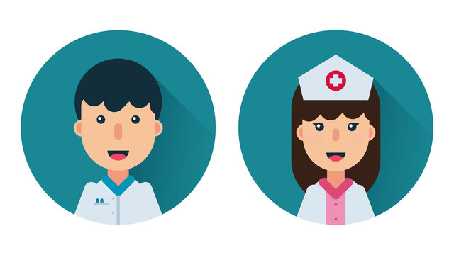 Male and female doctors icons set