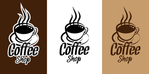 Coffee poster logo shop with coffee cup. Cafe Business Badge or Label design
