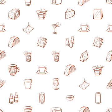 Cheeses, Drinks and Japanese food set. Background for printing, design, web. Usable as icons. Seamless. Color.
