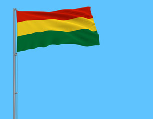 Isolate flag of Bolivia on a flagpole fluttering in the wind on a blue background, 3d rendering.