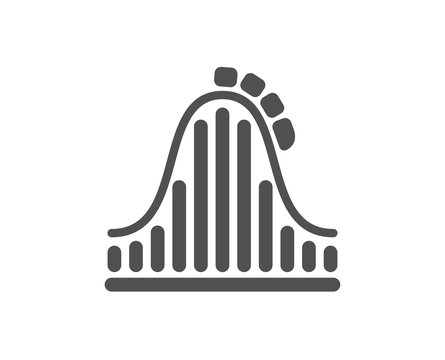 Roller coaster icon. Amusement park sign. Carousels symbol. Quality design element. Classic style icon. Vector