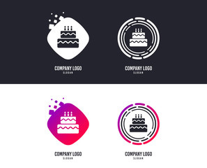 Logotype concept. Birthday cake sign icon. Cake with burning candles symbol. Logo design. Colorful buttons with icons. Vector