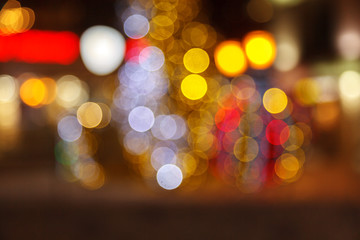 Blurred background of colored lights. Image of abstract blurred bokeh background with warm colorful lights. Christmas lights, blur, bokeh, bokeh lights, bokeh background