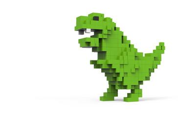 3D illustration of dinosaur pixel. Green Dino on white background pixel shaped. T-Rex dinosaur on white background.