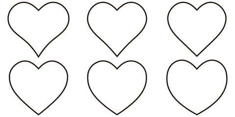 Set contour heart icon, vector set heart shape, lovers on Valentines day