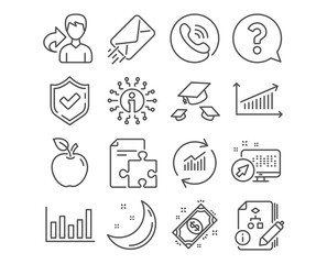 Set of Question mark, Throw hats and Strategy icons. Column chart, Payment and Algorithm signs. Update data, E-mail and Chart symbols. Help support, College graduation, Puzzle. Vector