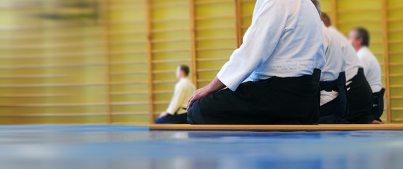Aikido background. Meditation before passing the exam. Wrestlers in white kimano and black hakama. Web banner with with blurred background, place for text. Without faces and recognizable objects.