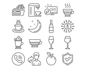 Set of Mocha, Tea cup and Wineglass icons. Latte coffee, Bordeaux glass and Burger signs. Coffee machine, Cafe creme and Beer bottle symbols. Burgundy glass, Hot drink with whipped cream, Cheeseburger