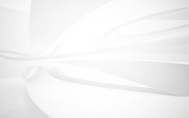 White smooth abstract architectural background. 3D illustration and rendering