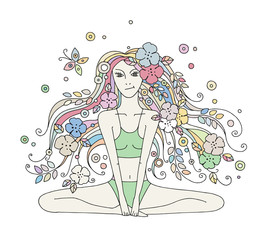 Vector graphic hand drawn illustration of young beautiful girl with long hair with flowers, leaves, butterfly. Woman doing yoga in lotus position, line drawing.