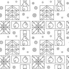 Seamless vector pattern. Black and white geometrical hand drawn background with snowflake, snowman, christmas tree. Decorative print for background, wallpaper, packaging, wrapping, fabric.