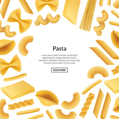 Vector realistic pasta types background banner illustration with place fotr text