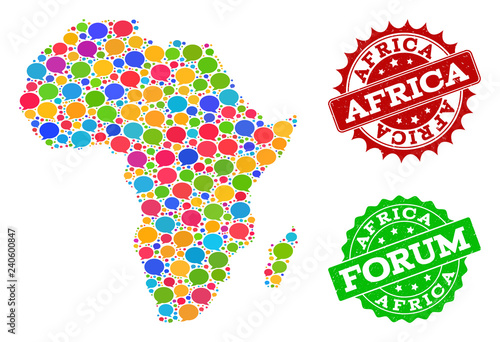 Social network map of Africa and grunge stamp seals in red