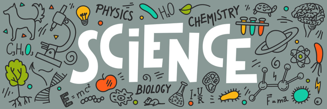 Science doodles with lettering