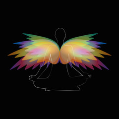 meditation yoga person with colorful wings vector illustration EPS10