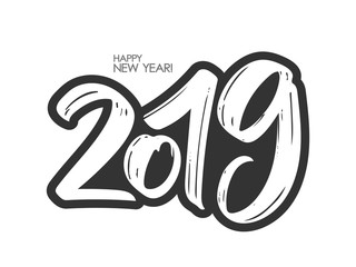 Vector illustration: Hand drawn brush lettering of number 2019. Happy New Year. Chines calligraphy
