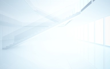Foto op Plexiglas Heuvel Abstract white interior multilevel public space with window. 3D illustration and rendering.