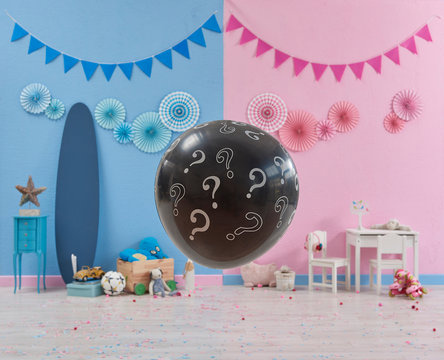 Decorative gender party style, gender reveal, baby girl or baby boy guessing, gender party celebration.
