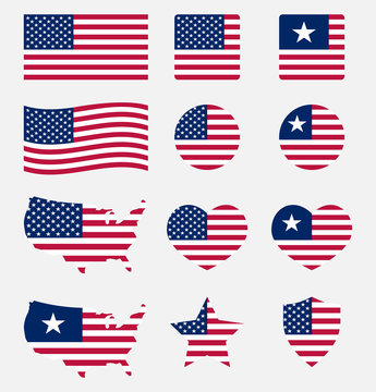 USA flag symbols set, United states of America national flag icons