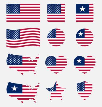 USA flag symbols set, United states of America national flag icons