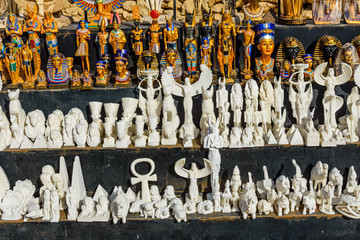 Different egyptian souvenirs for sale in a street shop