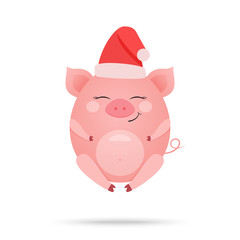 Cartoon illustration of cute amused pig isolated on white background