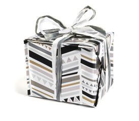Beautiful gift box with ribbon on white background