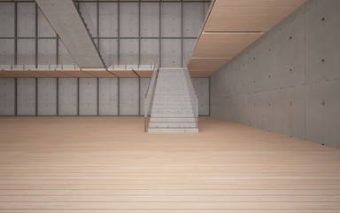 Wall Murals Stairs Abstract concrete and wood interior multilevel public space with window. 3D illustration and rendering.
