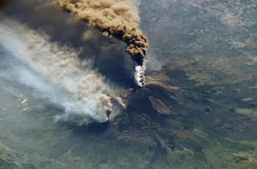 Aerial view of the volcano Mount Etna eruption in the island of Sicily.Elements of this image furnished by NASA. Fototapete