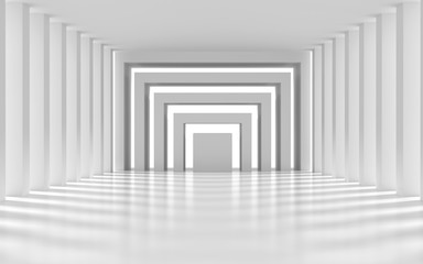 White architectural space with sunlight-3D rendering