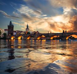 Fototapete - Fiery sunset in Prague