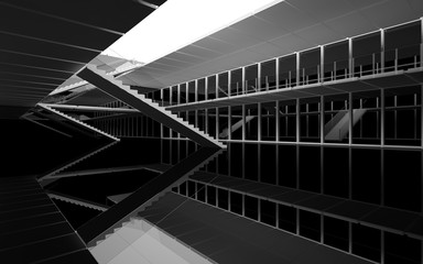 Abstract white and black interior multilevel public space with window. 3D illustration and rendering. Wall mural