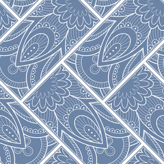 Poster de jardin Style Boho Line art seamless pattern for fabric or wrapping paper. Background with hand-drawn elements