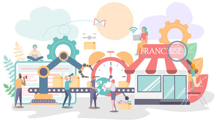 Vector illustration, Business industry production line and franchise with workers, Automation and boxs on line production with workers connection.