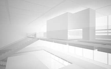 Abstract white interior multilevel public space with window. 3D illustration and rendering.