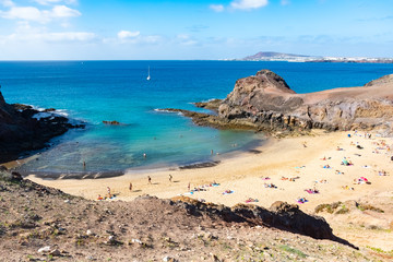 Landscape with the famous Papagayo Beach on the Lanzarote Island in the Canary Islands, Spain