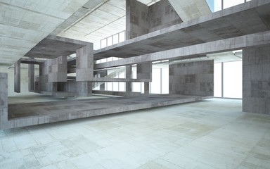 Abstract  concrete interior multilevel public space with window. 3D illustration and rendering.