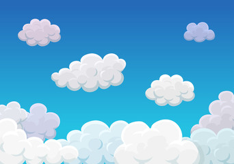 Clouds over blue sky cartoon background vector illustration