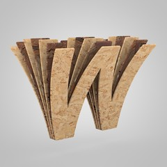 3D wooden letter W uppercase. 3D rendering chipboard font. Cutaway plywood alphabet