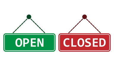 Open, closed sign icon. Vector illustration, flat design.